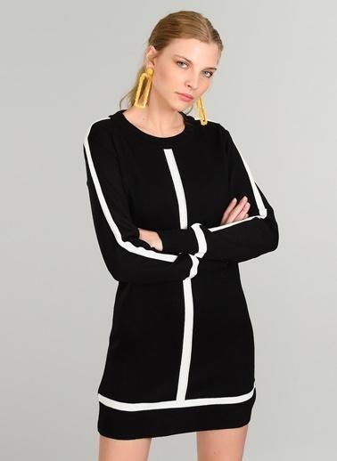 People By Fabrika Kontrast Renkli Triko Elbise Siyah
